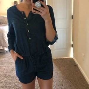 Denim GAP Romper with cinched waist & pockets